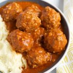 Instant Pot Porcupine Meatballs are a tasty and fun meal that kids and adults like! Pressure cooker porcupine meatballs are done in minutes and are made from simple pantry staples! simplyhappyfoodie.com #instantpotrecipes #instantpotporcupinemeatballs #instantpotmeatballs #pressurecookerporcupinemeatballs