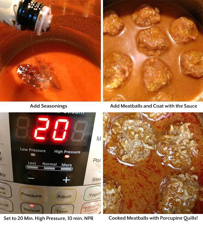 Four images showing how to make porcupine meatballs by adding seasoning and coating meatballs with sauce before placing in a pressure cooker and getting the final product