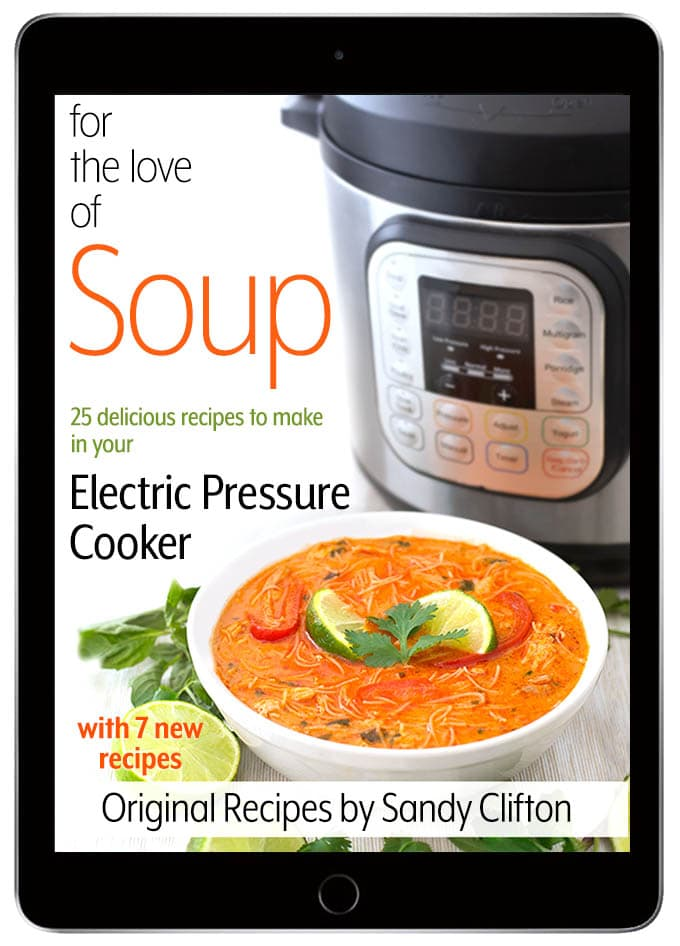 For the love of soup pressure cooker instant pot recipes e-cookbook cover on a tablet