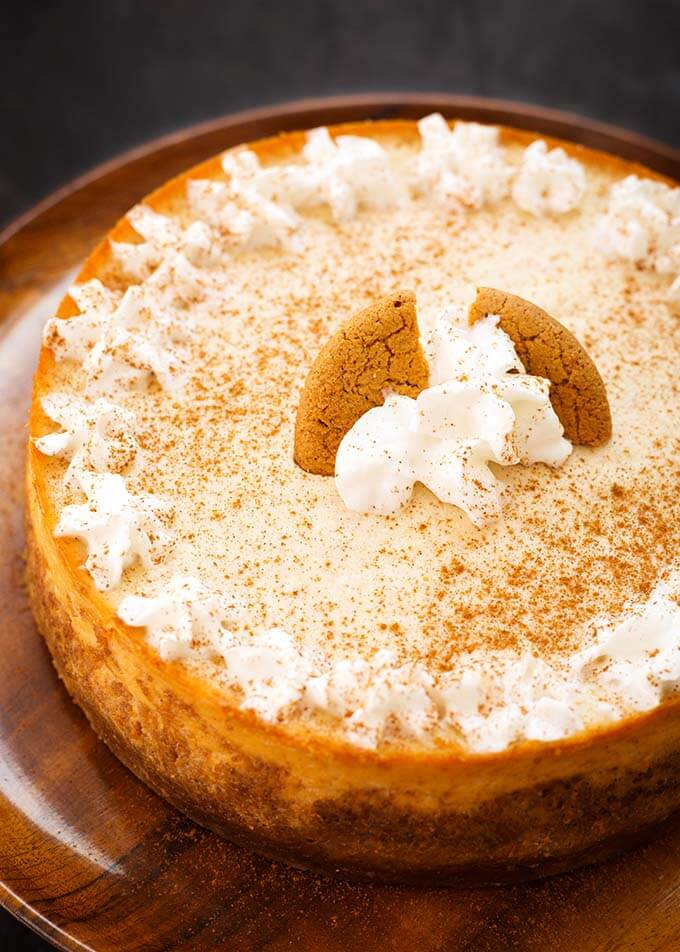 Eggnog Cheesecake on a brown plate