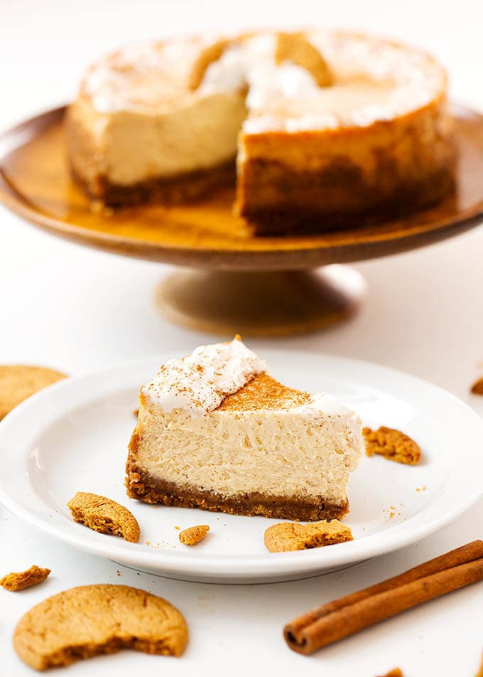 Instant Pot Eggnog Cheesecake is a creamy, Holiday favorite. It's easy and fun to make a pressure cooker cheesecake. simplyhappyfoodie.com #instantpotrecipes #instantpotcheesecake #instantpoteggnogcheesecake #instapotrecipes #pressurecookercheesecake