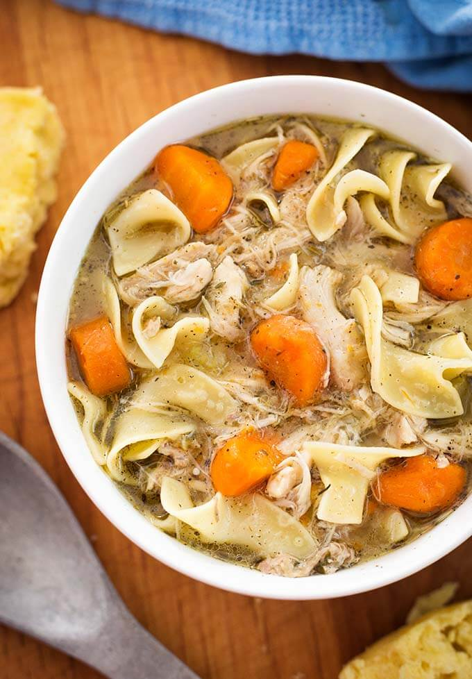 Instant Pot Mini - Game Hen Noodle Soup for the 3 quart electric pressure cooker. Comforting like chicken noodle soup, but made with a Cornish game hen. Simple to make, and quick, too! simplyhappyfoodie.com #instantpotrecipes #instantpotminirecipes #instantpot3quartrecipes Instantpotchickennoodlesoup #instantpotgamehen