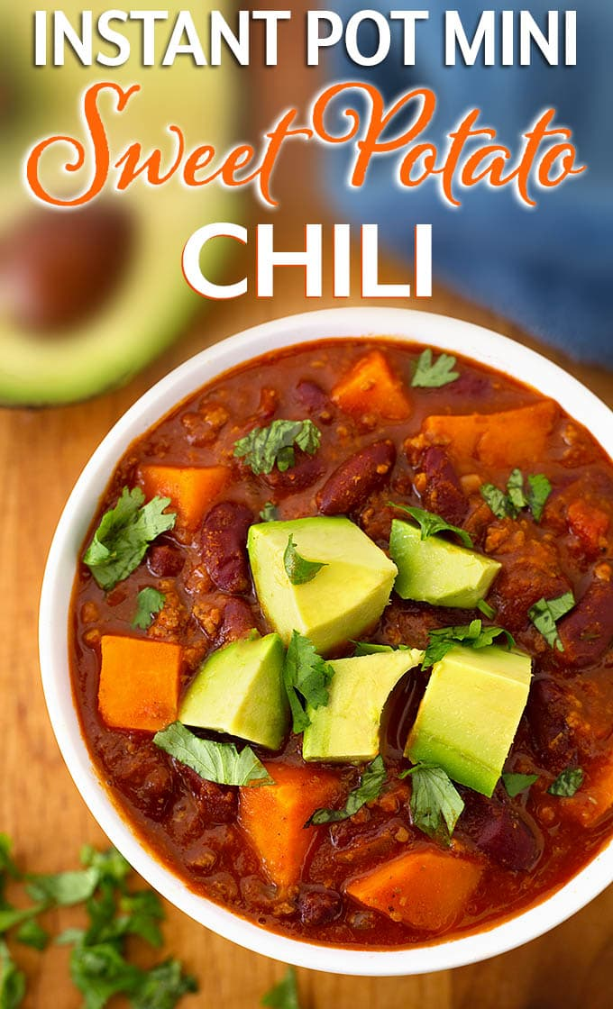 Instant pot mini sweet potato chili is rich and delicious with the right amount of spice. A smaller quantity made in your 3 quart electric pressure cooker. simplyhappyfoodie.com #instantpotmini #instantpotchili