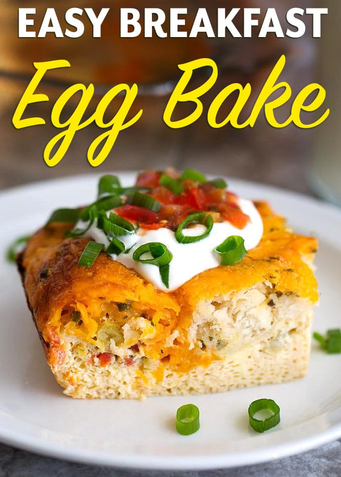 This Easy Breakfast Egg Bake is full of Southwest flavor! Eggs, biscuits, and cheese blend with lots of seasoning and flavorful add ons! Double it to feed a crowd! simplyhappyfoodie.com #eggbake #breakfastrecipes #eggbiscuitbake #eggrecipes #eggbakerecipes