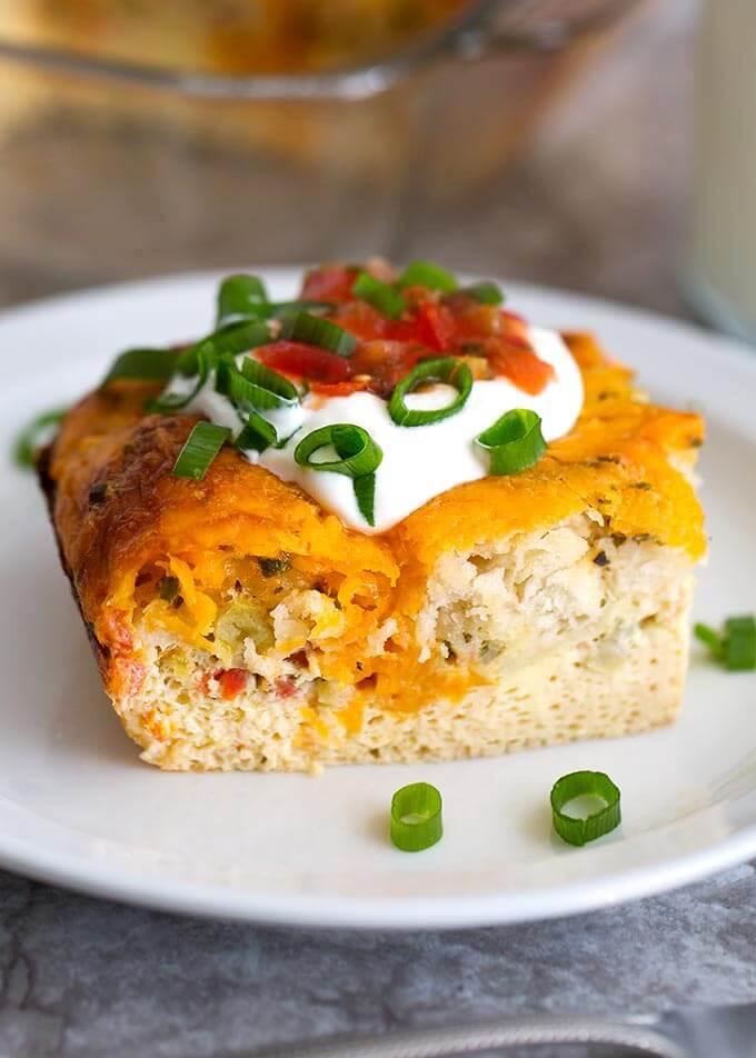 Slice of Breakfast Egg Bake on a white plate