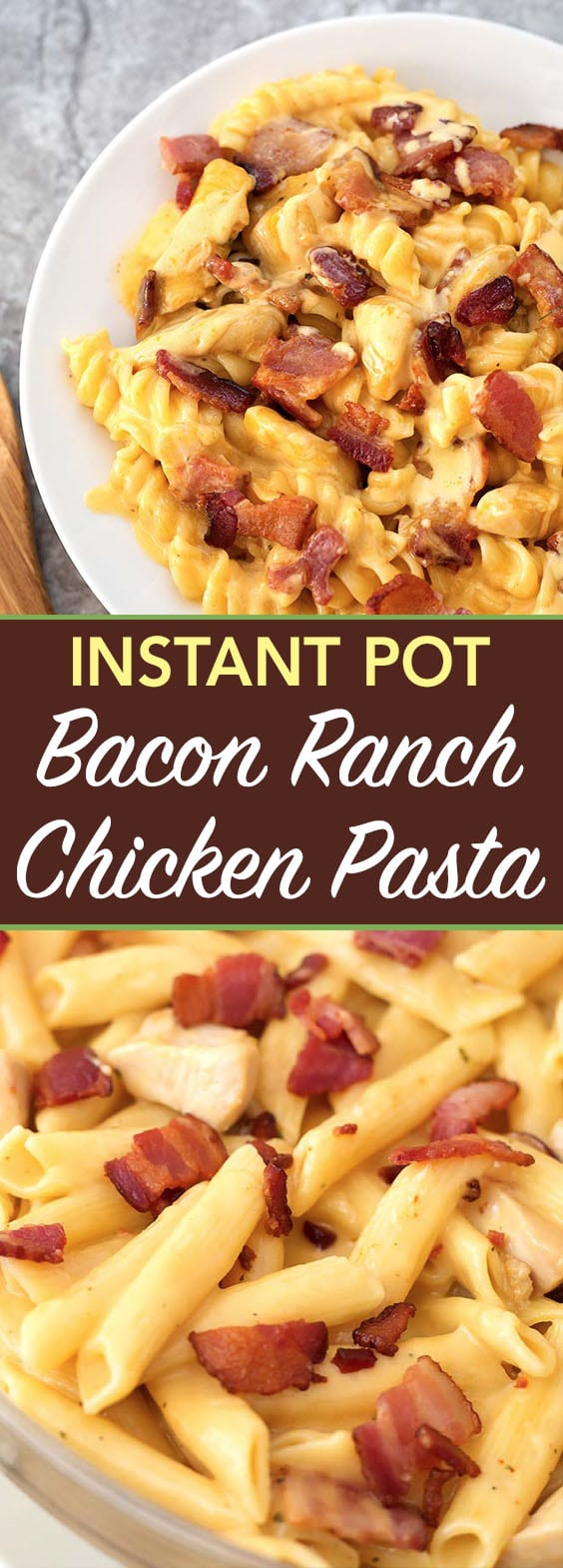 Instant Pot Chicken Bacon Ranch Pasta is a tasty cheesy pasta dinner with chicken and ranch dressing flavor, made in your electric pressure cooker. Instant Pot recipes by simplyhappyfoodie.com #instantpotchickenbaconranchpasta #instantpotchickenpasta