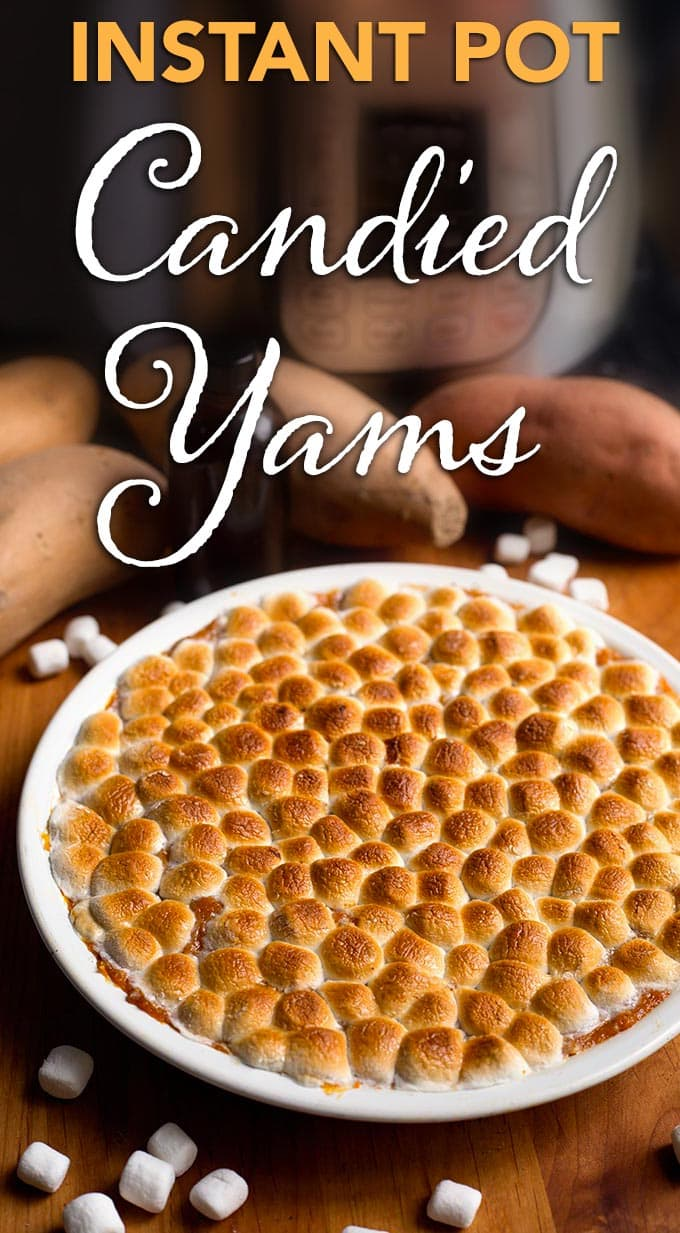 Instant Pot Candied Yams are the easiest way to make sweet potatoes for Thanksgiving! No need to bake them, and way better than the canned kind! simplyhappyfoodie.com #instantpotrecipes #instantpotthanksgiving #instantpotyams #instantpotholiday