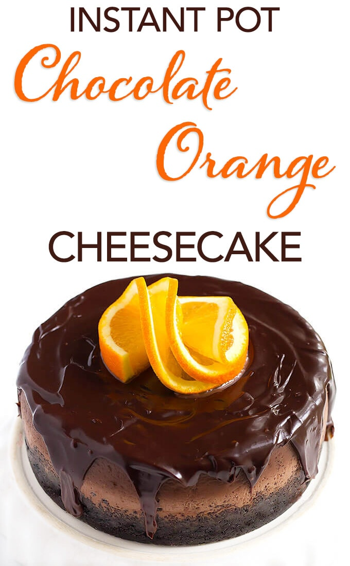 Instant Pot Chocolate Orange Cheesecake is so rich and decadent! A pressure cooker chocolate cheesecake with delicious orange added to the party! This chocolate orange cheesecake is my favorite. A great holiday cheesecake. simplyhappyfoodie.com #instantpotrecipes #instantpotcheesecake #instantpotchocolatechesecake #instantpotchocolateorangechesecake