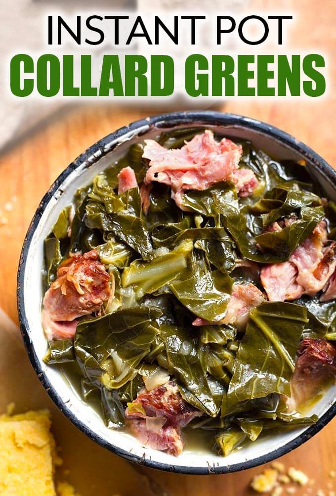 Rich, flavorful Instant Pot Collard Greens with a ham hock are so very good. You will love these pressure cooker collard greens with a side of cornbread! simplyhappyfoodie.com #instantpotcollards #instantpotcollardgreenshamhock instant pot collard greens