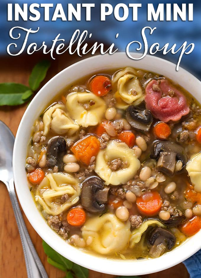 Instant Pot Mini Tortellini Soup is a delicious soup with sweet potatoes, beans, mushrooms, and more! Make this pressure cooker tortellini soup in your 3 quart size electric pressure cooker. simplyhappyfoodie.com #instantpot3quart #instantpotsoup