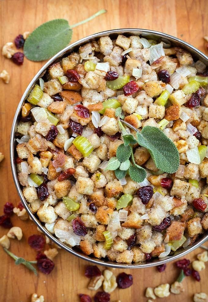 Instant Pot Stuffing is the perfect Holiday side dish. Make this stuffing in your electric pressure cooker. simplyhappyfoodie.com #instantpotrecipes #instantpotstuffing #instantpotdressing #instantpotthanksgiving