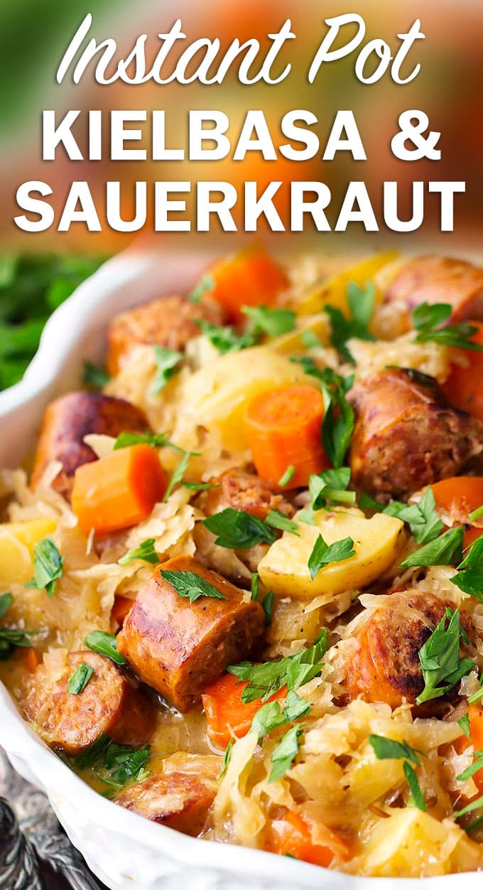 Instant Pot Kielbasa and Sauerkraut is a one pot meal with amazing flavor! This pressure cooker sauerkraut and kielbasa recipe is a family favorite! simplyhappyfoodie.com #instantpotsauerkrautkielbasa #instantpotrecipes #instantpotkielbasa #instantpotsauerkraut