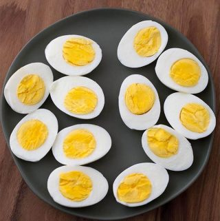 Instant Pot Boiled Eggs. Make hard cooked or soft cooked eggs in your electric pressure cooker. simplyhappyfoodie.com #instantpotrecipes #instantpotboiledeggs #instantpoteggs #pressurecookereggs