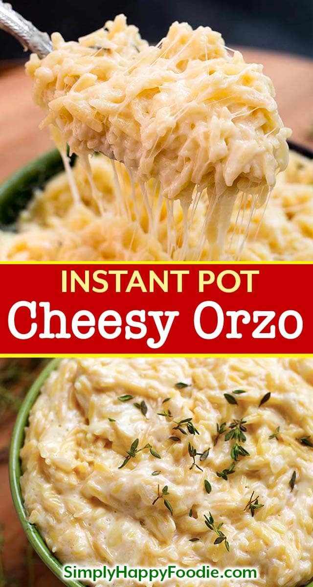 Instant Pot Cheesy Garlic Orzo is a delicious pasta side dish, and those little orzo pasta grains become so soft and creamy. It is very easy and quick to make pressure cooker orzo pasta! Instant Pot recipes by simplyhappyfoodie.com #instantpotpasta #instantpotorzo