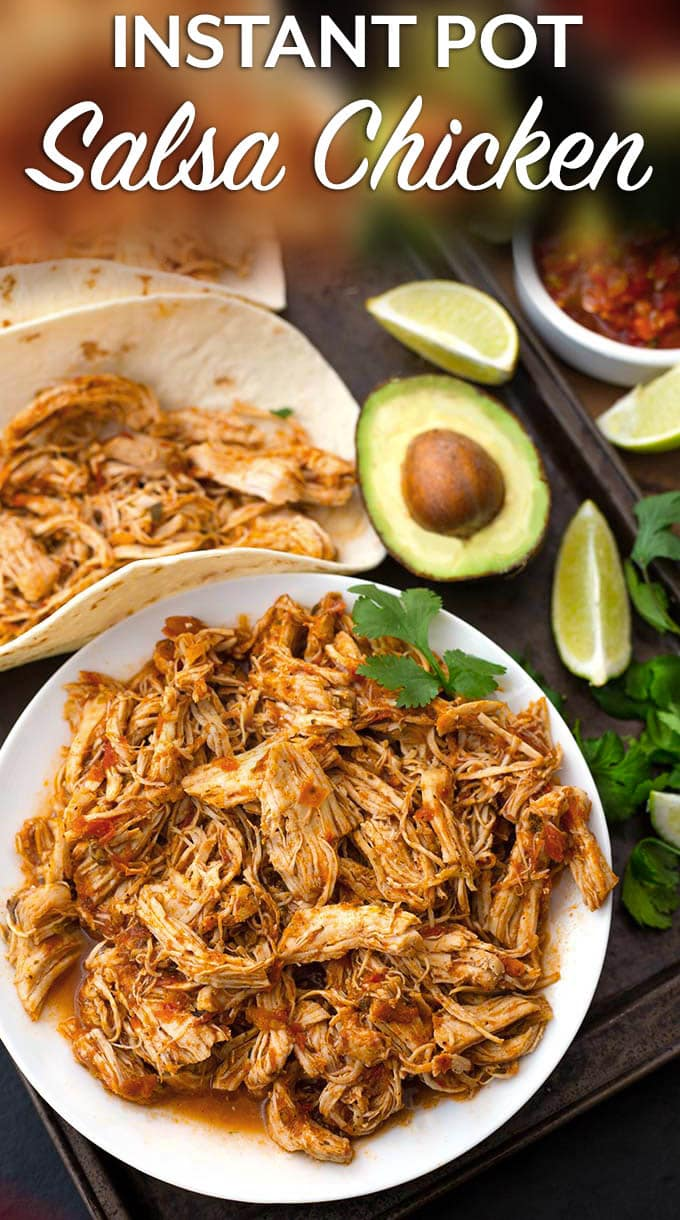 Instant Pot Salsa Chicken is Mexican flavored shredded chicken breast that you can use for tacos, burrito bowls, and casseroles. Lots of flavor, and this pressure cooker shredded chicken is so useful! simplyhappyfoodie.com #instantpotsalsachicken #instantpotshreddedchicken