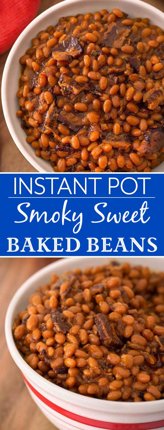Instant Pot Smoky Sweet Baked Beans are rich and delicious. Made from soaked navy beans in your electric pressure cooker. simplyhappyfoodie.com #instantpotbakedbeans #instantpotbeans #instantpotbakedbeansrecipe #pressurecookerbakedbeans