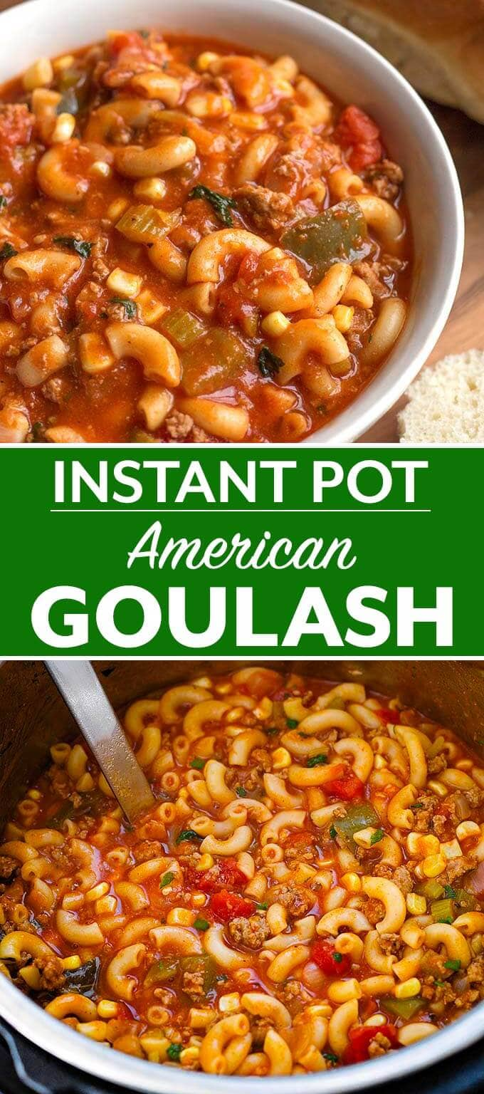 Instant Pot American Goulash is a classic one-pot meal many of us grew up with. Pasta, ground beef, and a tomato sauce are key ingredients in this pressure cooker American Goulash! simplyhappyfoodie.com #instantpotrecipes #instantpotgoulash #pressurecookergoulash