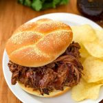 Instant Pot Barbecue Beef is an easy recipe to make, and versatile. Make BBQ beef sandwiches, serve over rice, or on potatoes. Pressure cooker bbq beef bottom round roast. simplyhappyfoodie.com #instantpotrecipes #instantpotbbqbeef #instantpotroast #pressurecookerroast