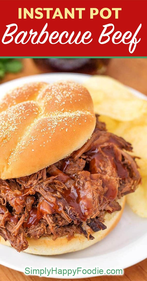 Instant Pot Barbecue Beef is an easy recipe to make, delicious and versatile. This pressure cooker bbq beef is made from a chuck roast, or rump roast. Make BBQ beef sandwiches, serve over rice, or on potatoes. Pressure cooker bbq beef bottom round roast. simplyhappyfoodie.com #instantpotbbqbeef #instantpotroast #instantpotbarbecuebeef #pressurecookerroast