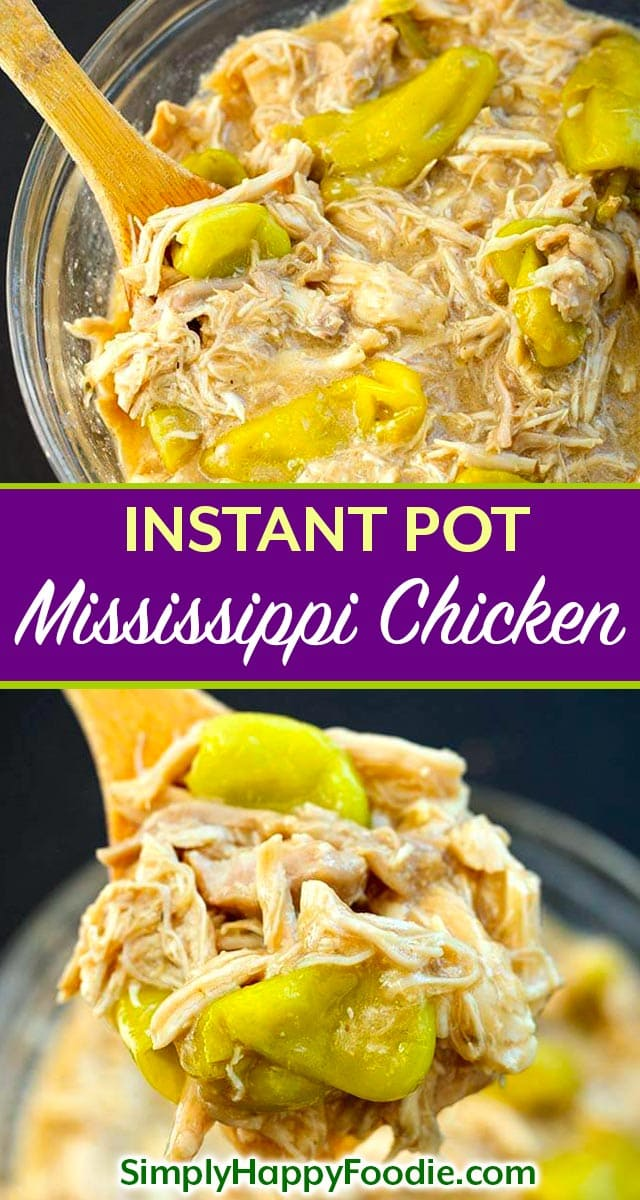 Instant Pot Mississippi Chicken is a delicious recipe for chicken thighs or breasts. Pressure cooker Mississippi Chicken is full of flavor and easy to make! Great for Game Day, or feeding a crowd. simplyhappyfoodie.com #instantpotmississippichicken #pressurecookerchicken #instantpotchicken