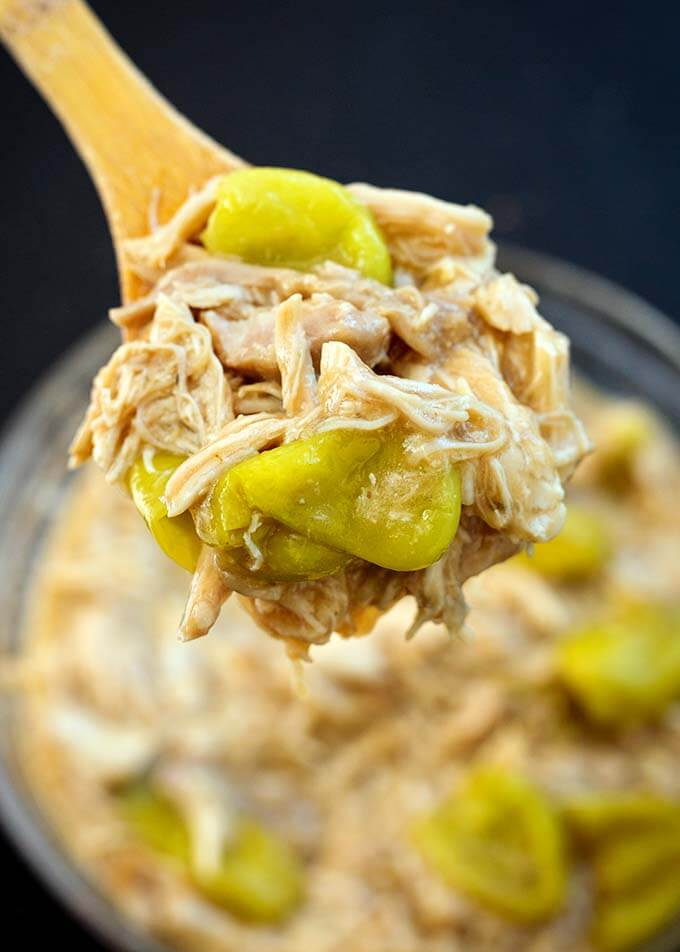 Instant Pot Mississippi Chicken is so good! Tons of flavor and super easy to make. Great for Game Day, or feeding a crowd. simplyhappyfoodie.com