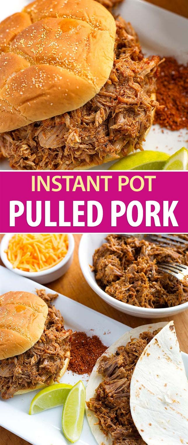 Instant Pot Pulled Pork is flavorful and very tender pork shoulder that you can shred for sandwiches, tacos, over rice or potatoes. Pressure cooker pulled pork. simplyhappyfoodie.com #instantpotpulledpork #pressurecookerpulledpork