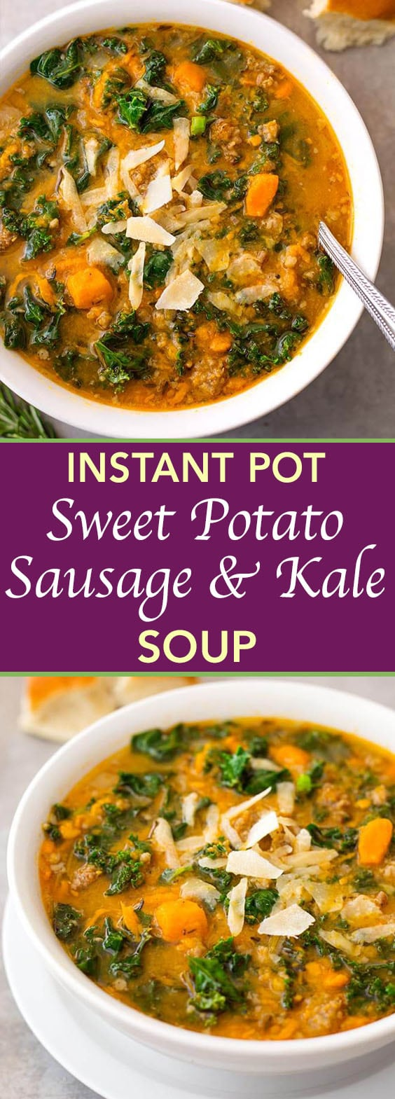 Instant Pot Sweet Potato Sausage and Kale Soup is a hearty, but not heavy soup with a ton of flavor. It is easy to make, and so very delicious, and even healthy! simplyhappyfoodie.com #instantpotrecipes #instantpotsweetpotatosausagekalesoup #instantpotsoup #pressurecookersoup