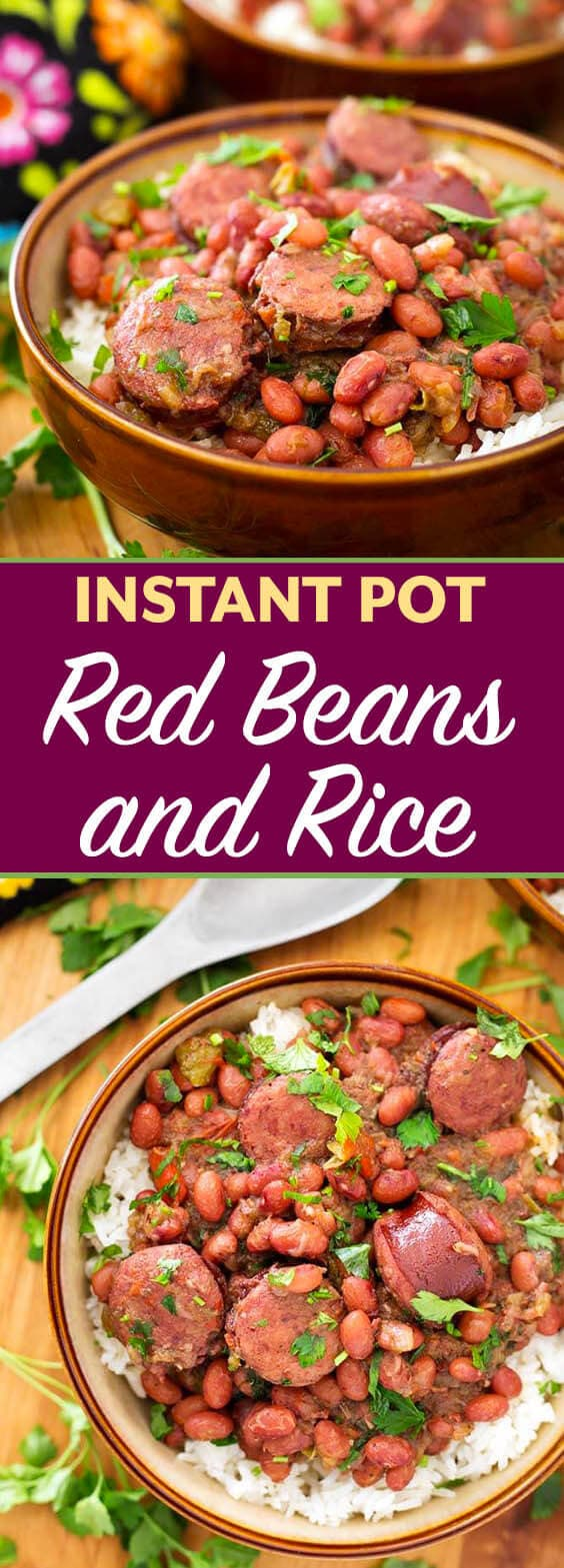 Two images of Instant Pot Red Beans and Rice in brown bowls with title
