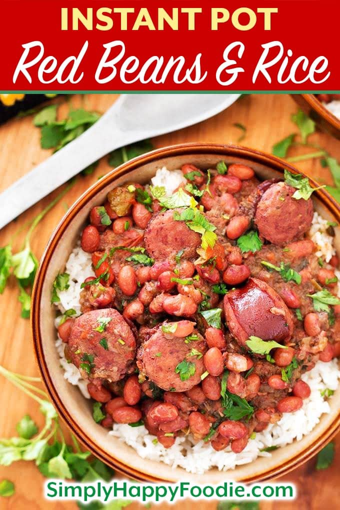 Instant Pot Red Beans and Rice with Sausage recipe is a flavor packed, spicy New Orleans traditional dish. Pressure cooker Red Beans and Rice is super flavorful, and can be made from dry beans in just over an hour! Instant Pot recipes by simplyhappyfoodie.com #instantpotredbeansandrice #pressurecookerredbeansandrice