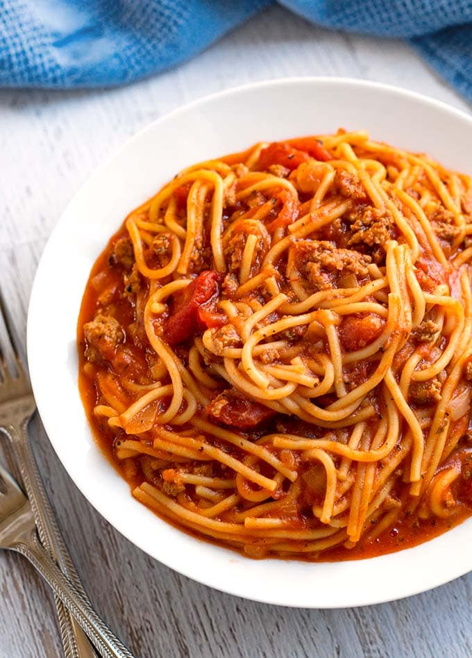 instant pot spaghetti with meat sauce simply happy foodie