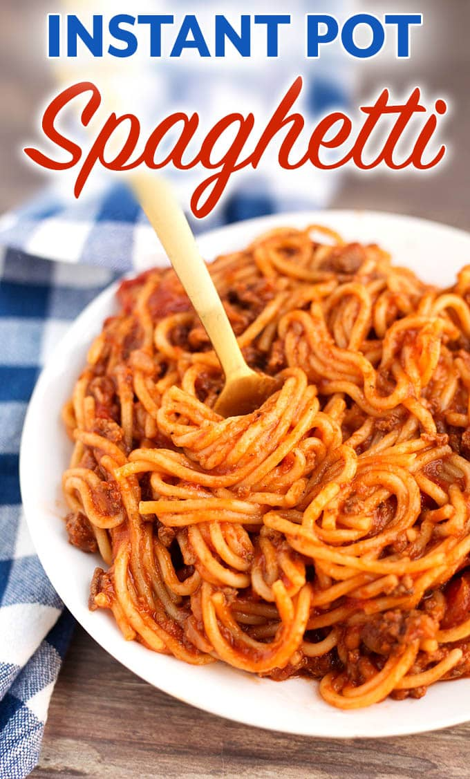 Instant Pot Spaghetti is a one pot spaghetti with meat sauce that turns out delicious, and is easy and quick to make. Pressure cooker spaghetti, who knew?! simplyhappyfoodie.com #instantpotspaghetti #pressurecookerspaghetti