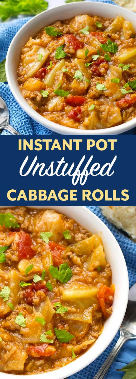 Instant Pot Unstuffed Cabbage Rolls is a heart, thick stew with the same ingredients as a cabbage roll - unstuffed! This pressure cooker unstuffed cabbage rolls recipe is delicious, and a little old fashioned comfort food. simplyhappyfoodie.com #instantpotrecipes #instantpotunstuffedcabbagerolls #instantpotcabbage #pressurecookerunstuffedcabbage