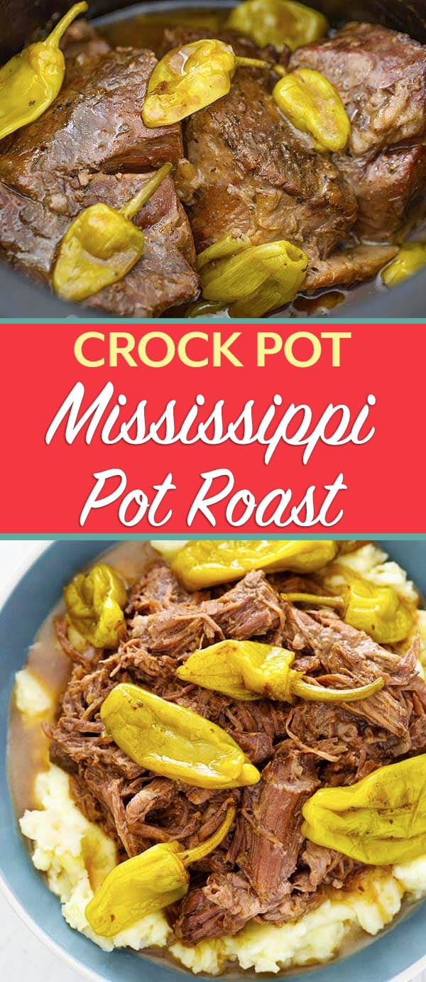 Mississippi Pot Roast made in the crock pot is full of flavor. This slow cooker Mississippi Pot Roast is an easy dump and start pot roast recipe. simplyhappyfoodie.com #mississippipotroast #mississippiroast #crockpotmississippiroast #slowcookermississippiroast