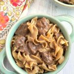 Instant Pot Beef and Noodles is rich, creamy, hearty, and delicious. Tender beef and egg noodles in a beefy, oniony broth. Pressure Cooker Beef and Noodles is easy to make and very tasty! simplyhappyfoodie.com #instantpotrecipes #instantpotbeefnoodles #pressurecookerbeefnoodles #beefandnoodles