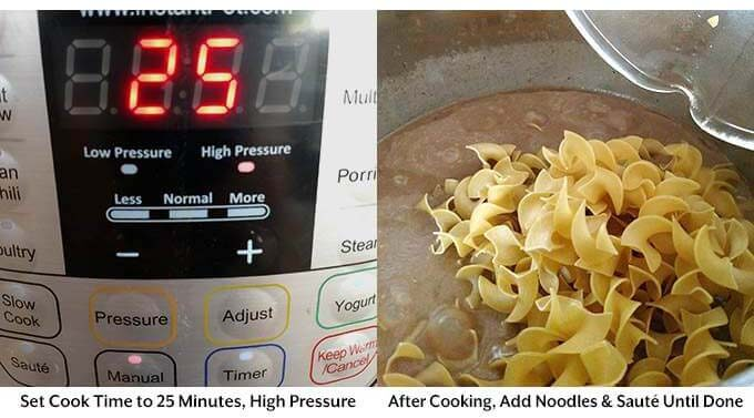 Two images showing the cook time on pressure cooker and pasta added in the pressure cooker