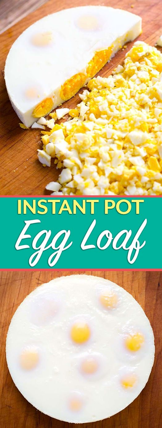 "The Instant Pot Egg Loaf is a speedy and efficient way to hard cook several eggs at once, and not have to peel them! This recipe makes an egg ""Loaf"" that you can just chop up when it is done cooking! Making a pressure cooker egg loaf is so easy! simplyhappyfoodie.com #instantpotboiledeggs #instantpoteggloaf #pressurecookereggs"
