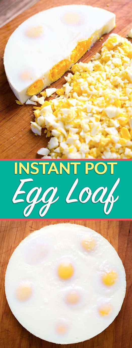 "The Instant Pot Egg Loaf is a speedy and efficient way to hard cook several eggs at once, and not have to peel them! This recipe makes an egg ""Loaf"" that you can just chop up when it is done cooking! Making a pressure cooker egg loaf is so easy! simplyhappyfoodie.com #instantpotrecipes #instantpotboiledeggs #instantpothardcookedeggs #instantpoteggloaf #pressurecookereggs"