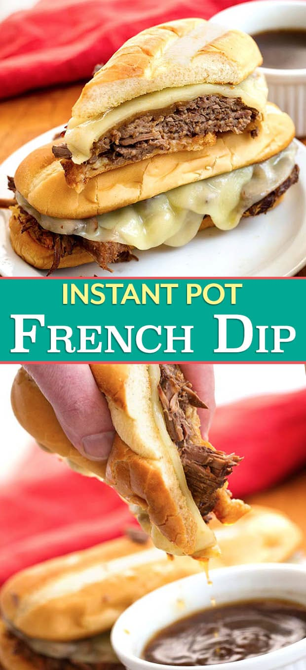 Instant Pot French Dip Sandwiches are made with tender, flavorful roast beef and delicious au jus on a hoagie roll. Pressure cooker French Dip sandwiches are faster to make in the Instant Pot! simplyhappyfoodie.com #instantpotrecipes #instantpotfrenchdip #instantpotroastbeef #pressurecookerfrenchdip
