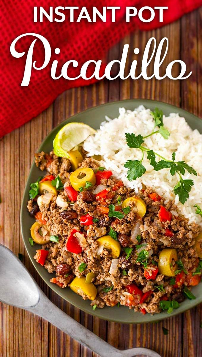 Instant Pot Picadillo is made with ground beef and lots of savory ingredients. Picadillo makes a great taco, or empanada filling, and is great over rice, too! Make this pressure cooker Picadillo today! simplyhappyfoodie.com #instantpotrecipes #instantpotpicadillo #instantpotgroundbeef #pressurecookerpicadillo