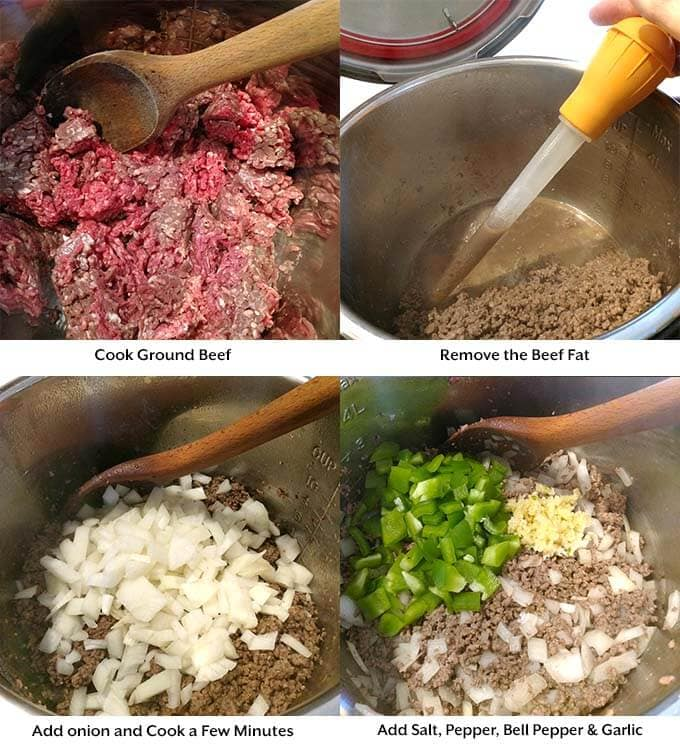 four images of Sloppy Joe process including cooking ground beef removing fat and adding vegetables