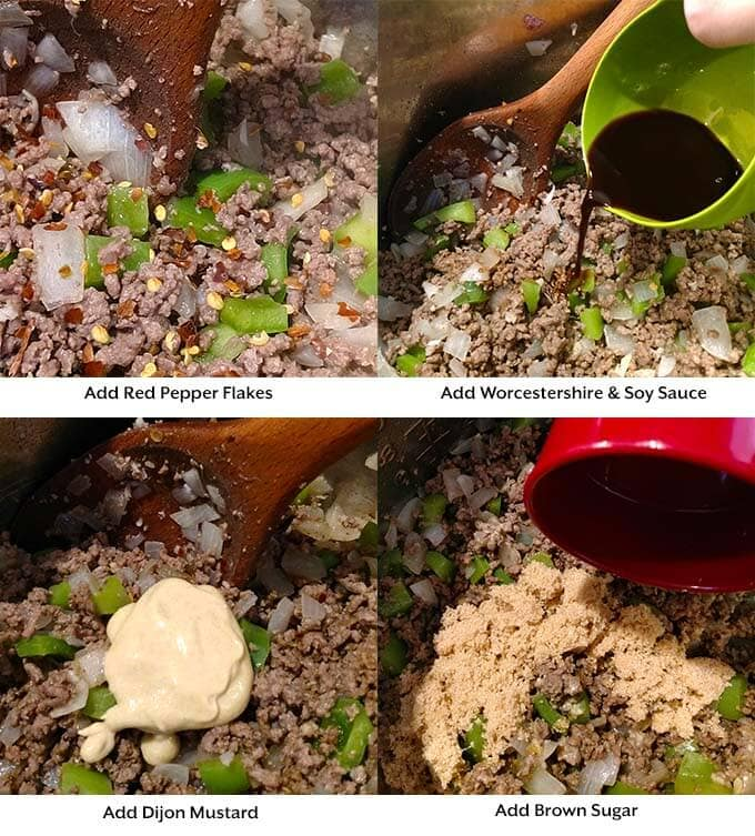 four images showing process of adding seasoning, liquids, and sugar