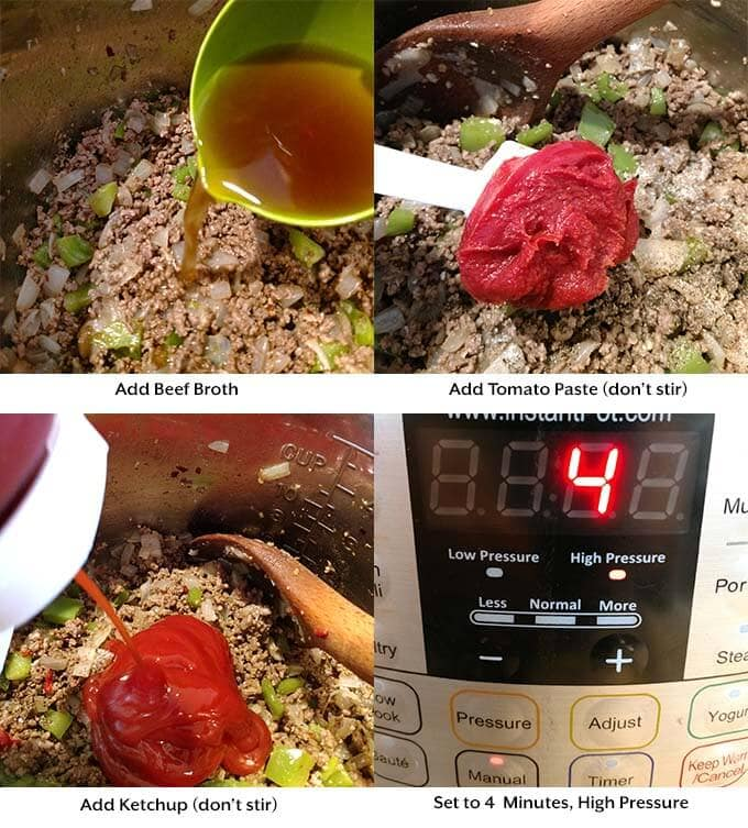 four images of adding broth, tomato products and setting the time on the pressure cooker
