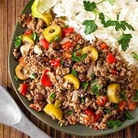 Instant Pot Picadillo with rice on a gray plate
