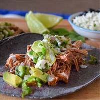 Instant Pot Beef Tacos with Avocado Salsa