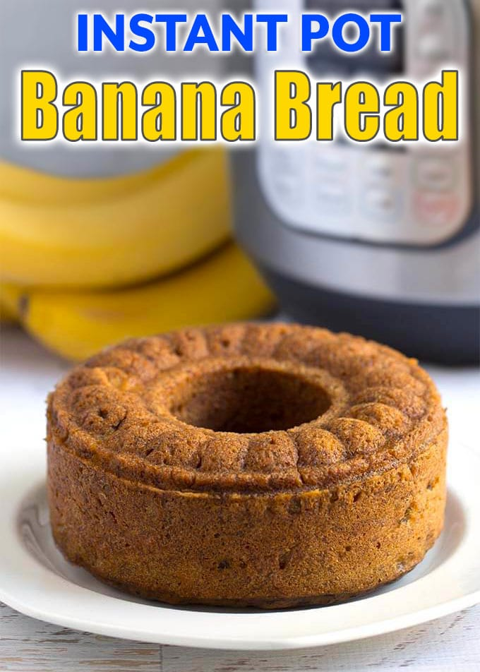 Instant Pot Banana Bread is sweet, tender, and so delicious. All you need are ripe bananas, and you are on your way to a delicious banana bread. Pressure cooker banana bread is really easy to make and will bring back childhood memories. Instant Pot recipes by simplyhappyfoodie.com #instantpotbananabread #pressurecookerbananabread