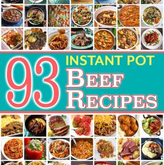 A collection of 93 Instant Pot Beef Recipes from some of the best recipe creators. Instant Pot pot roast, Instant Pot Beef Stew, Instant Pot ground beef recipes, and many other pressure cooker beef recipes. simplyhappyfoodie.com #instantpotbeefrecipes #instantpotpotroast #instantpotgroundbeefrecipes #instantpothamburgerrecipes #instantpotbeef #pressurecookerbeefrecipes