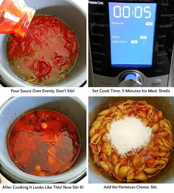 four process images showing the addition of sauce into the pressure cooker pot, setting the pressure cooker cook time and adding the Parmesan cheese to the dish in the pressure cooker