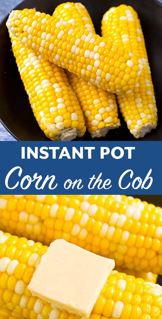 Instant Pot Corn on the Cob is crisp and done perfectly, without boiling a big pot of water. You can cook several ears of corn at one time. Pressure cooker corn on the cob is our favorite way to cook corn! simplyhappyfoodie.com #instantpotrecipes #instantpotcornonthecob #instantpotcorn #pressurecookercornonthecob