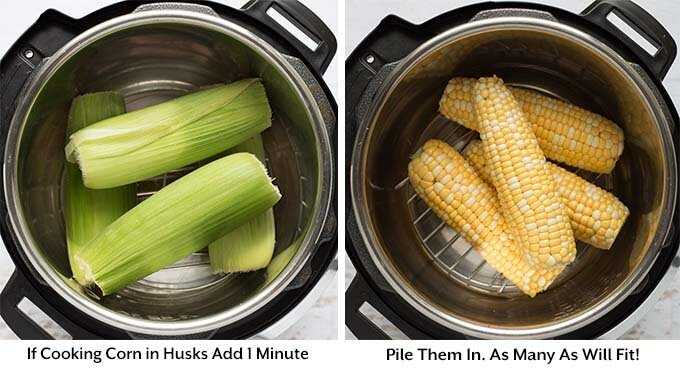 Two process images showing the addition of corn into a pressure cooker