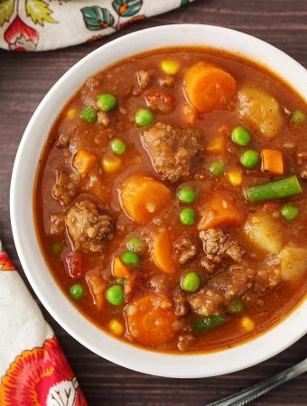 Hamburger Soup in a white bowl